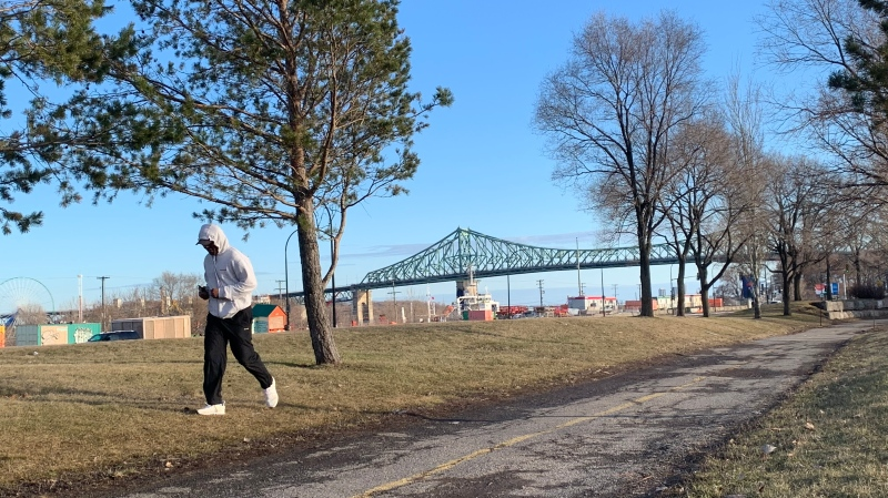 Though gyms are closed due to the COVID-19 pandemic, runners, walkers and cyclists have laced up and hit Montreal's bike paths and parks in large numbers. (Daniel J. Rowe/CTV News)