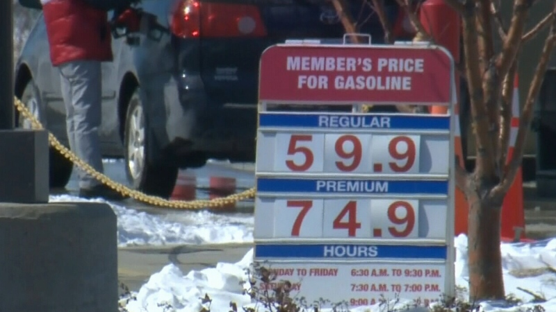 Gas dips under 60 cents/litre