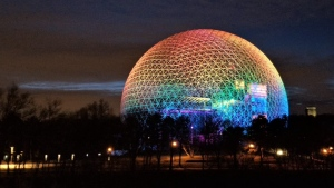 The Montreal Biosphere will be lit in rainbow colours starting April 5, 2020. SOURCE MTL Biosphere Twitter