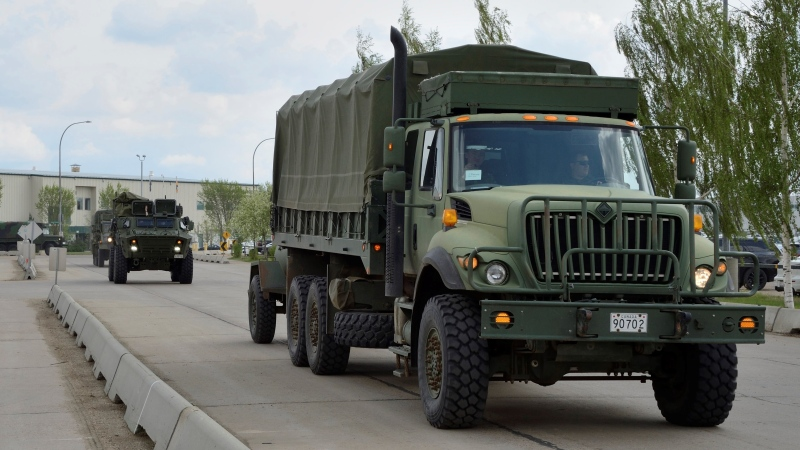 Military vehicles will be heading to Canadian Forces Base Borden on Monday, April 6, 2020.