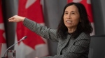 Chief Public Health Officer Theresa Tam gestures as she talks about the pandemic curve during a news conference in Ottawa, Friday April 3, 2020. THE CANADIAN PRESS/Adrian Wyld