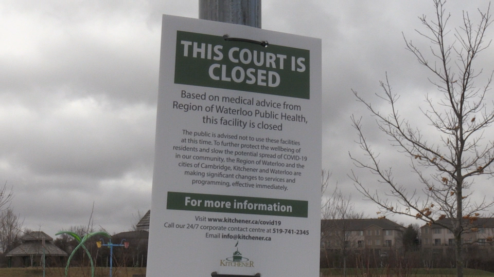Closed sign posted at McLennan Park in Kitchener. (Apr. 5, 2020)