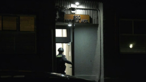 Victoria police say they were forced to evacuate multiple floors of an apartment building Friday night because residents were engaged in a confrontation over the COVID-19 pandemic. (CTV)