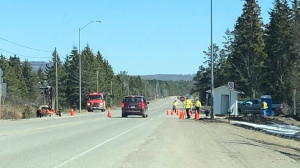 Western blockade on Hwy. 17B, heading east into the Garden River First Nation. File photo (Christian D'Avino/CTV News Northern Ontario)