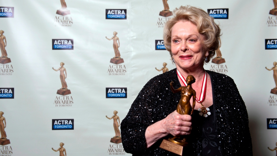 Shirley Douglas poses after receiving her ACTRA Toronto Award of Excellence at the 11th annual ACTRA awards in Toronto, Saturday February 23, 2013. THE CANADIAN PRESS/Galit Rodan