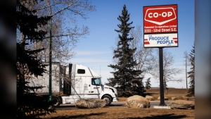 A truck is shown at the Federated Co-op warehouse in Calgary, Alta., on March 27, 2020. (THE CANADIAN PRESS/Jeff McIntosh)