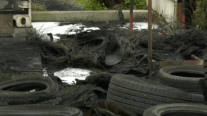 """When they arrived, firefighters saw """"heavy black smoke"""" and flames coming from the back of the station, where several tires had caught fire. (CTV)"""
