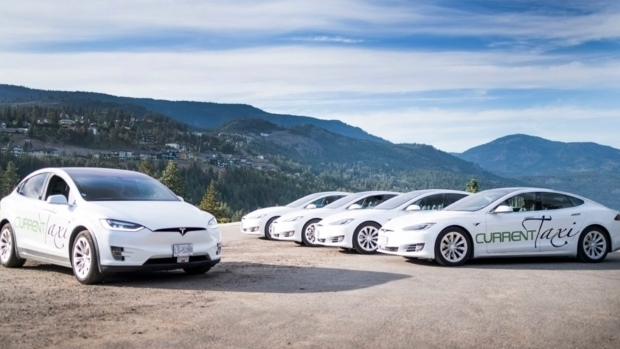 Current Taxi's Tesla-only fleet allows the company to offer a touchless experience during COVID-19. (Current Taxi)