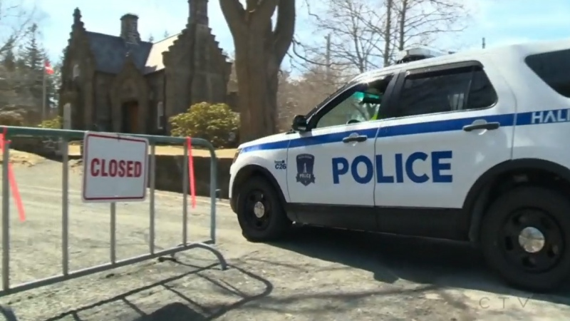 Halifax Regional Police respond to Point Pleasant Park. The park is closed amid the COVID-19 pandemic.