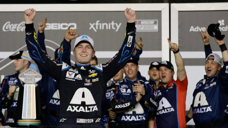 William Byron celebrates a win in Daytona Beach, Fla., on Feb. 13, 2020. (Terry Renna / AP)