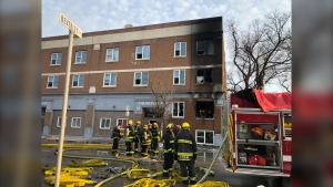 The fire in the 700 block of Sargent Avenue. (Source: Alex Brown/CTV News Winnipeg)