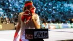 Stefanos Tsitsipas handles his towel during the ATP Next Gen tennis tournament final, on Nov. 10, 2018. (Luca Bruno / AP)