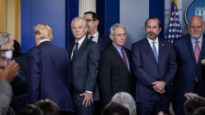 U.S. President Donald Trump exits after speaking and not taking any questions during a press briefing with the White House Coronavirus Task Force team in the press briefing room of the White House March 9, 2020 in Washington, D.C. (Drew Angerer/Getty Images/CNN)