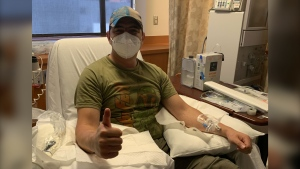 Jason Garcia donated his plasma after recovering from coronavirus to help others. (St. Joseph Hospital / CNN)