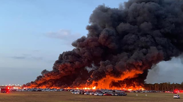 The flames destroyed more than 3,500 rental cars, a Lee County Port Authority spokesperson said. (Charlotte County Sheriff's Office / CNN)