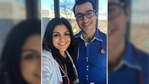 """Submit a photo: <a href=""""mailto:ottawaphotos@ctv.ca"""">ottawaphotos@ctv.ca</a><br> Dr. Taleen Haddad PGY5 Geriatric Medicine University of Ottawa and Dr. Tony Haddad PGY3 Internal Medicine University of Saskatchewan <br/> My health care heroes are my immediate family members: my husband, son, daughter and son-in-law, all physicians, who have been working tirelessly in these pandemic to help the sick during these unprecedented times. (Karoline Armoyan/CTV Viewer)"""
