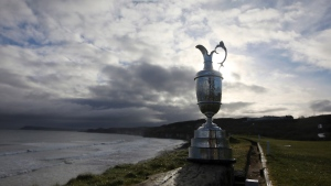The Claret Jug at Royal Portrush, Dunluce course, Northern Ireland, on April 2, 2019. (Peter Morrison / AP)