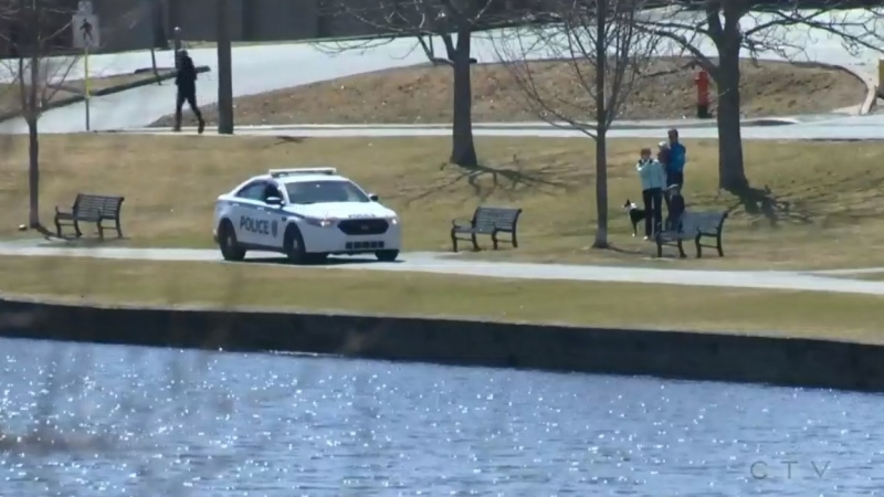 A Halifax Regional Police cruiser is in seen in a Halifax-area park on April 5, 2020.