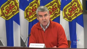 Nova Scotia Premier Stephen McNeil provides an update on COVID-19 during a news conference in Halifax on April 5, 2020.
