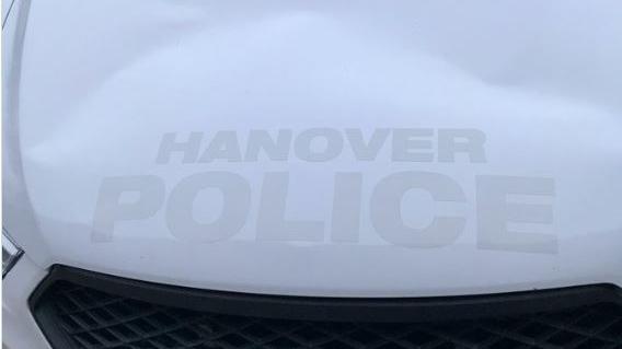 Damaged Hanover police cruiser