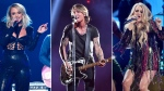 From left, Miranda Lambert, Keith Urban and Carrie Underwood, who are among 23 performers that will be featured in 'ACM Presents: Our Country.' (AP)