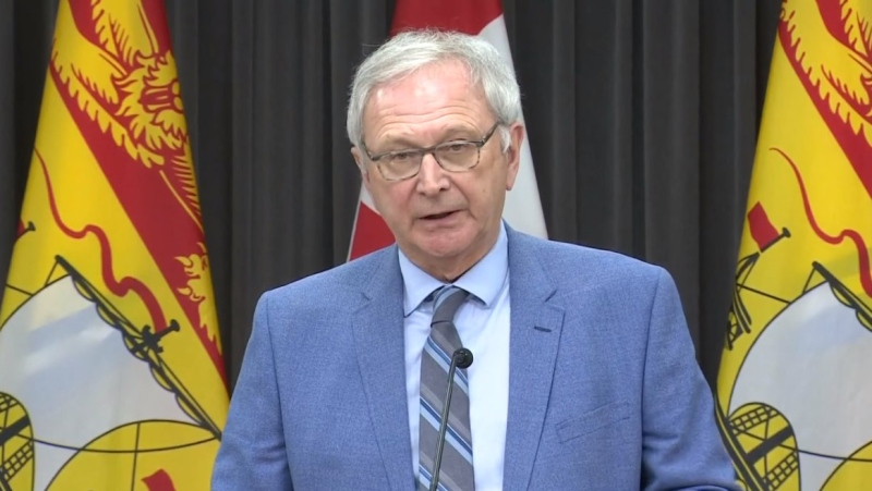 New Brunswick Premier Blaine Higgs provides an update on COVID-19 during a news conference in Fredericton on April 6, 2020.