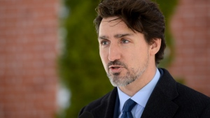 Prime Minister Justin Trudeau addresses Canadians on the COVID-19 pandemic from Rideau Cottage in Ottawa on Monday, April 6, 2020. THE CANADIAN PRESS/Sean Kilpatrick