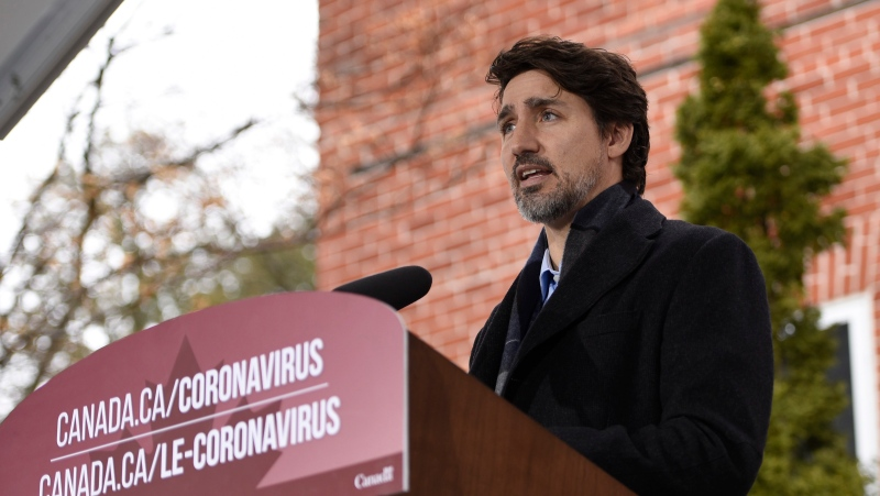 Prime Minister Justin Trudeau speaks during his daily press conference on the COVID-19 pandemic outside of his residence at Rideau Cottage in Ottawa, on Sunday, April 5, 2020. THE CANADIAN PRESS/Justin Tang