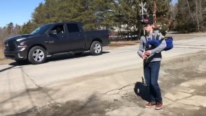Ian Curran plays the bagpipes for his neighbours in hopes of boosting spirits during these trying times.