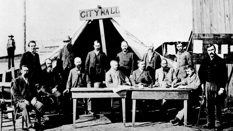 A photo from the City of Vancouver Archives shows a makeshift city hall in 1886.