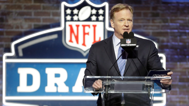 In this April 25, 2019, file photo, NFL Commissioner Roger Goodell speaks ahead of the first round at the NFL football draft in Nashville, Tenn. In a memo sent to the 32 teams Monday, April 6, 2020, and obtained by The Associated Press, NFL Commissioner Roger Goodell outlined procedures for the April 23-25 draft. The guidelines include no group gatherings. (AP Photo/Steve Helber, FIle)
