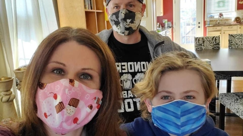 The Souchereau family wears cloth face masks in Windsor, Ont., on Monday, April 6, 2020. (Michelle Maluske / CTV Windsor)