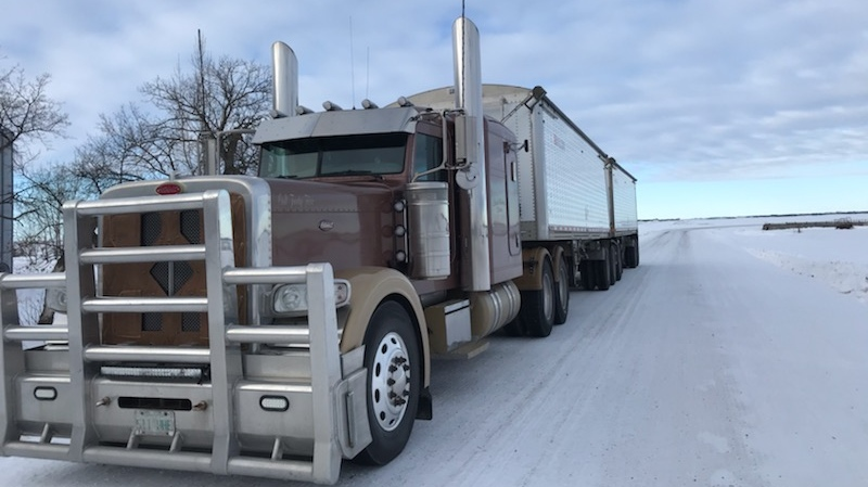 This semi, stolen from the Leask Hutterite colony, was found in Edmonton and recovered by RCMP. (Submitted photo)