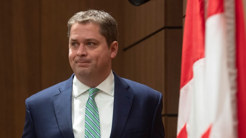 Leader of the Opposition Andrew Scheer speaks during a news conference on the COVID-19 virus in Ottawa, Tuesday March 24, 2020. THE CANADIAN PRESS/Adrian Wyld