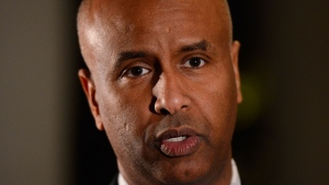 Minister of Families, Children and Social Development Ahmed Hussen speaks to reporters in Addis Ababa, Ethiopia on Friday, Feb. 7, 2020. THE CANADIAN PRESS/Sean Kilpatrick