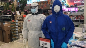 Personal protective equipment for sale at a Canadian Tire store in Vancouver on Monday, April 6. PPE is in short supply across Canada because of the COVID-19 pandemic, and provincial health officers have said medical-grade masks should be reserved for healthcare workers.