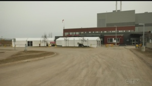 Sault Area Hospital COVID-19 Screening tents Apr. 6/20 (Jairus Patterson/CTV Northern Ontario)