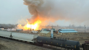 Fire at Estevan's Regens Metals on April 6, 2020 (Courtesy: Randi Gears)