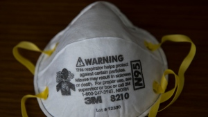 A 3M mask which health care workers are in dire need of is shown in Mississauga, Ont., on Friday, April 3, 2020. Health officials and the government has asks that people stay inside to help curb the spread of the coronavirus also known as COVID-19. THE CANADIAN PRESS/Nathan Denette