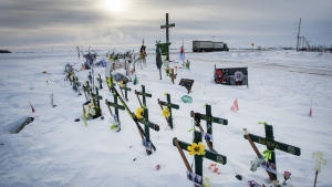 The memorial for the Humboldt Broncos hockey team at the site where sixteen people died and thirteen injured when a truck crashed into the team bus Wednesday, January 30, 2019 in Tisdale, Sask. THE CANADIAN PRESS/Ryan Remiorz