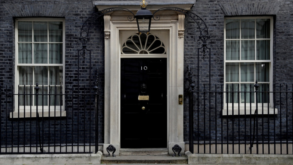 View at the closed door of 10 Downing Street