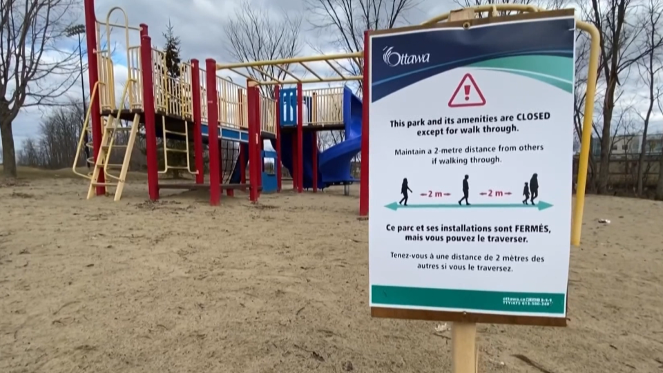 Sign announcing closure of Ottawa parks