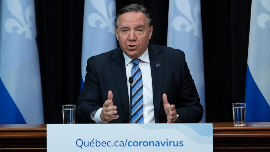 Quebec Premier Francois Legault speaks during a news conference on the COVID-19 pandemic at the legislature in Quebec City. THE CANADIAN PRESS/Jacques Boissinot