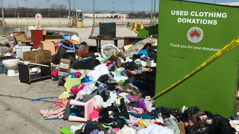 Clothing dropoff bin in Windsor, Ont., on Monday, April 7, 2020. (Michella Maluske / CTV Windsor)