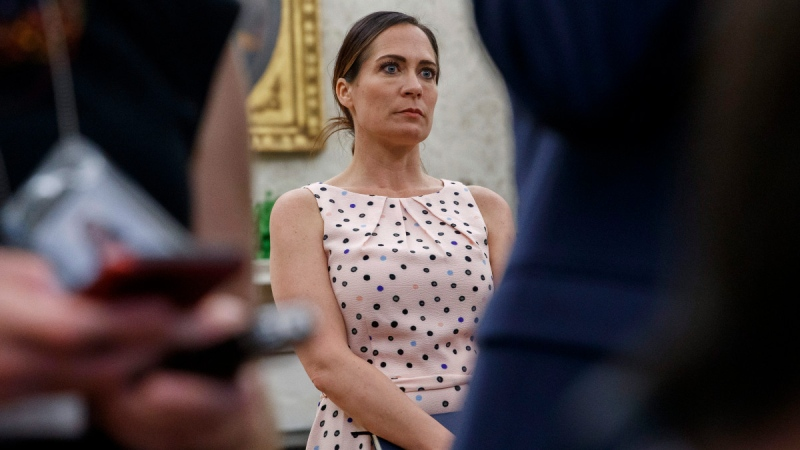 White House press secretary Stephanie Grisham at the White House in Washington, on July 17, 2019. (Alex Brandon / AP)
