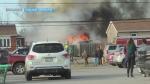 Garage fire in the Greater Sudbury community of Hanmer. Apr, 6/20 (Gisline Despatie)