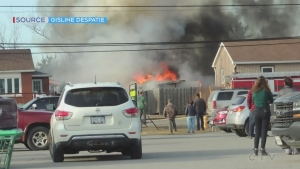 Garage fire in the Greater Sudbury community of Hanmer. Apr, 6/20 (Gisline Despatie)
