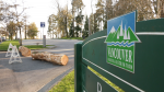 A log blocks the entrance to a parking lot in Vancouver's Stanley Park on Monday, April 6, 2020.