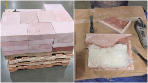 A combination photo from images provided by the CBSA shows bricks the agency says were filled with meth.
