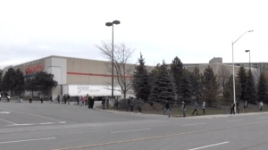 Shoppers wait to enter the Costco store in north London, Ont. on Tuesday, April 7, 2020. (Jordyn Read / CTV London)